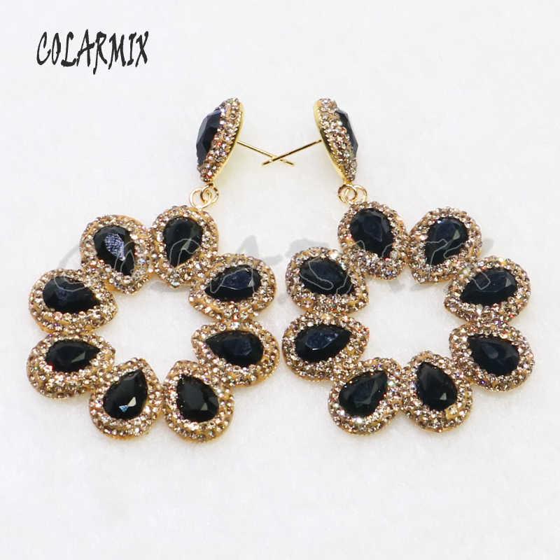 3 pairs crystal earrings crystal jewelry Gems stone jewelry wholesale jewelry for women hook earring  gift 6063