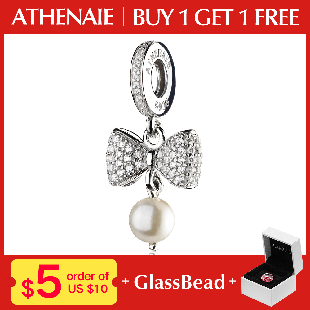 f473f0738cf7 ATHENAIE 925 Sterling Silver Pave Clear CZ Sparkling Bow White Pearl  Pendant Necklace Charms Fit Bracelets Beads Women