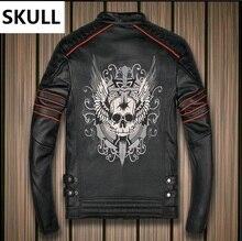 Free shipping,Brand clothing harlry skull leather Jackets men genuine Leather motorbiker jacket.Hot fashion coat