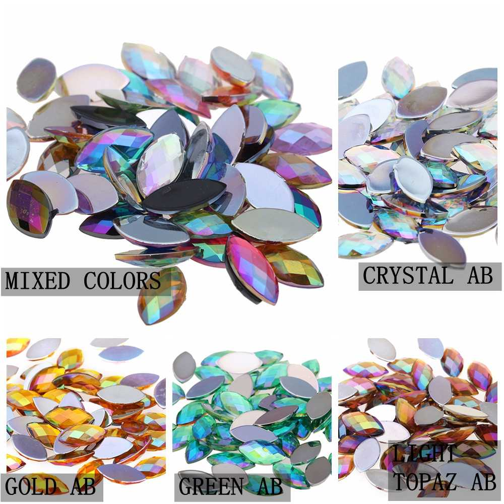1000pcs 5x10mm AB Colors Flatback Marquise Horse Eye Earth Facets Acrylic DIY Rhinestone For 3D Nail Art Jewelry Decorations