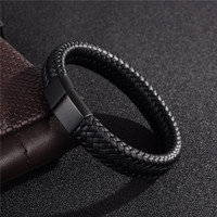 Jiayiqi Punk Men Jewelry Black Brown Braided Leather Bracelet Stainless Steel Magnetic Clasp Fashion Bangles 18