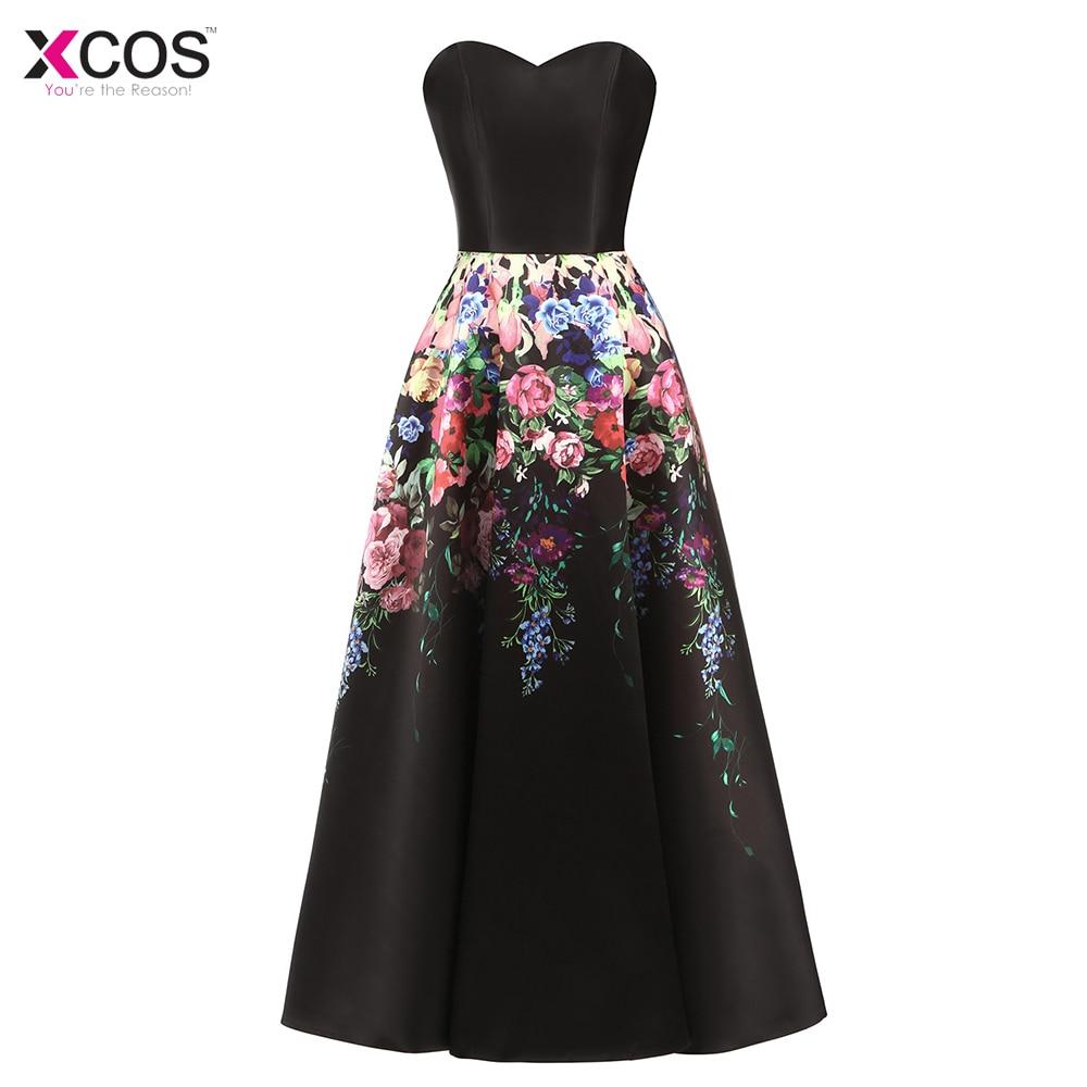 Long   Prom     Dresses   2018 Elegant A-Line Black   Prom     Dress   Formal Party   Dresses   Flower Floral Printed Evening Gown Vestido De Festa