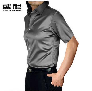 Новое поступление, летняя стильная шелковая Повседневная однотонная мужская рубашка с коротким рукавом, трендовая модная повседневная рубашка из искусственного шелка - Цвет: grey