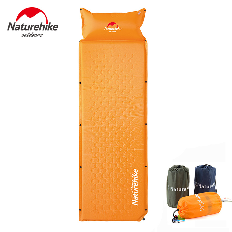 Tapis de couchage naturel auto-gonflant de coussin de Camping avec l'oreiller gonflable attaché ultra-léger confortable pour les voyages en plein air