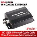 2 Pçs/lote 1080 P HD Rede IP Extensor Conversor de Transmissão de Cabo Coaxial Para Câmeras de Rede IP