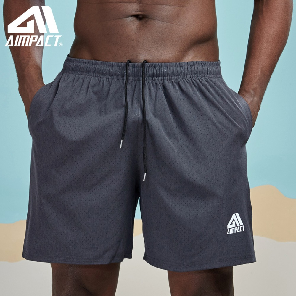Mens Basketball Gym Fitness Workout Athletic Swim Shorts with 2 Pockets M-2XL