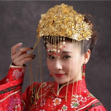 цены Freeshipping Fashion Hair Accessory Chinese Style Costume the Bride Hair Crown Clip Gold Coronet Tassel Hairpins