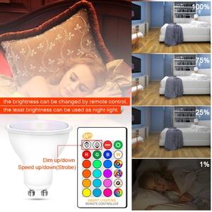 Image 5 - Dimmable RGB 220V LED Bulb 110V GU10 8W Lampada Led Lamp RGB Spotlight GU 10 Bombillas Led Light With Remote Control 16 Colors