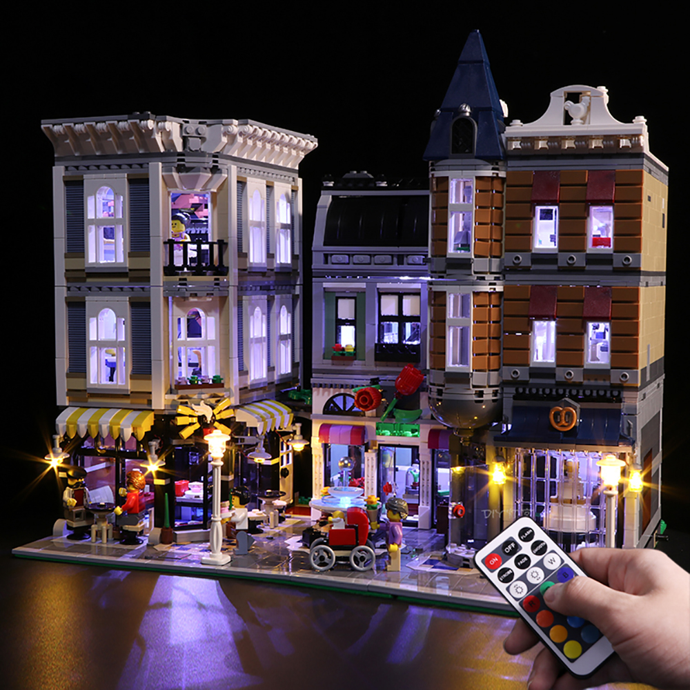 Remote control Led Light Set For Legoings 10255 Assembly Square Building Blocks Creator City Street Toys (light with Battery boxRemote control Led Light Set For Legoings 10255 Assembly Square Building Blocks Creator City Street Toys (light with Battery box