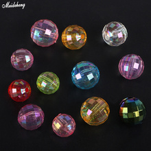 Fashion Acrylic Through Hole Transparent Luminous Earth Jewelry Beads Accessory Rubber Band DIY
