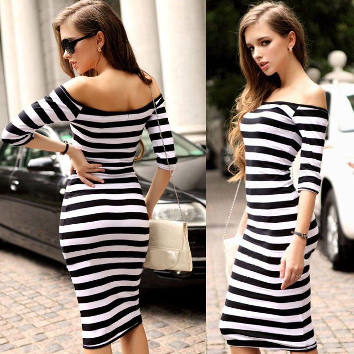 d54715ba7df 2018 Women Autumn Dress Sexy Half Sleeve Off Shoulder Stripe Stretch Casual  Party Bodycon Dresses Cotton Blend S XL Vestido-in Dresses from Women s  Clothing ...