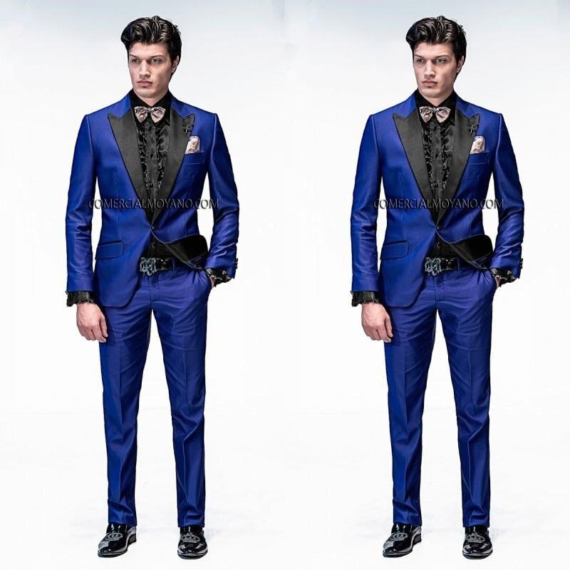 2015 Italian Mens Suits Royal Blue Wedding Tuxedos Jacket+Pants+ ...