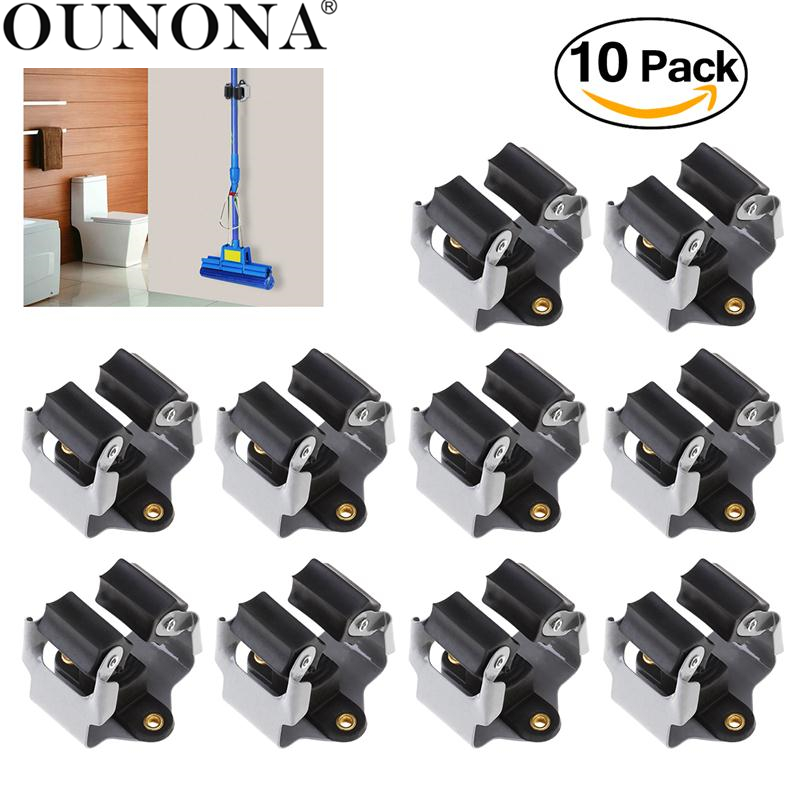 OUNONA 10pcs Hanger Mop Holder Organizer Storage Rack