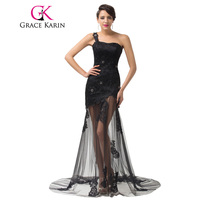 Grace Karin Brand Women Sexy Floor Length Long Black Evening Dress Formal Gown Lace Soft Tulle