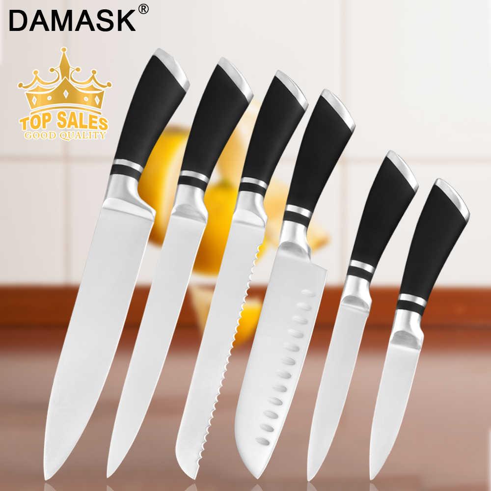 "Damast 8 ""zoll Japanischen Küche Messer Spiegel Edelstahl Kochmesser Set Scharfe Santoku Cleaver Filet Slicing Utility Besteck"