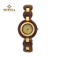BEWELL Fashion Women Watch Round Dial Female Quartz Watches For Woman Wooden Wristwatch