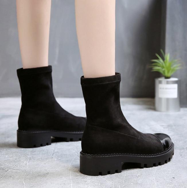 Mujeres Negro Moda De Nuevo Con Zll525 Femenina Gamuza Las Otoño Zapatos Mujer Botas invierno 2018 Grueso La Tobillo Xek Antideslizante xHY1wq48