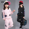 New Arrival Casual Two Pieces Pullover Tops & Pants Girls Clothes Sets Spring & Autumn 2016 Sequin Sport Suits Kids Clothes Sets