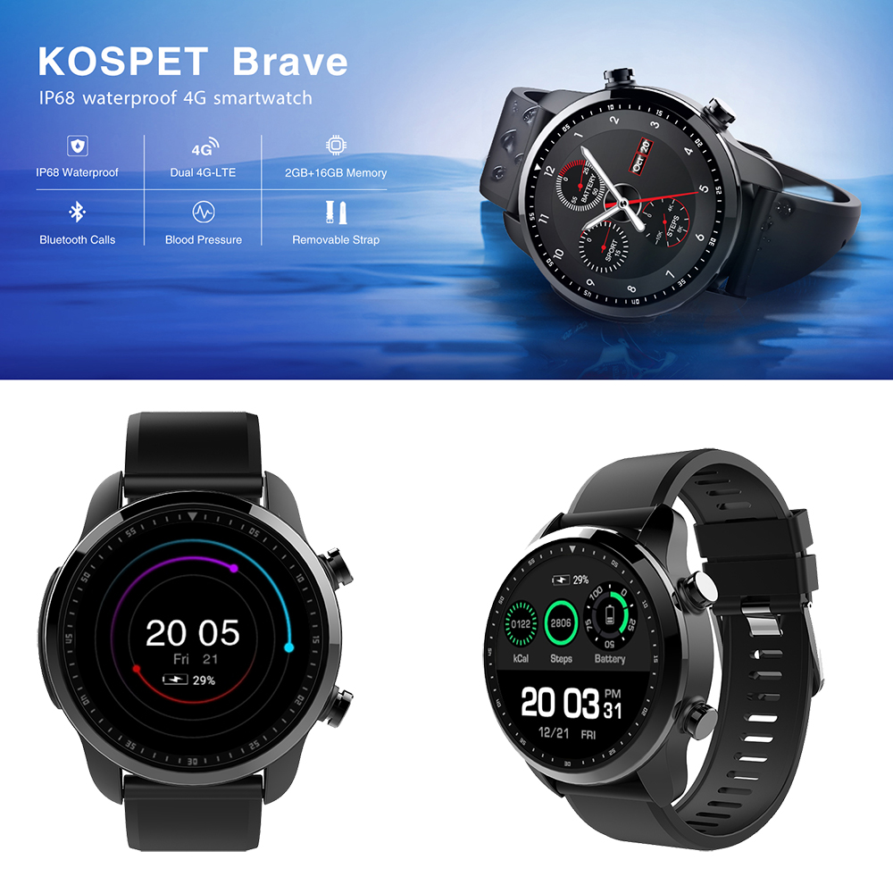 Kospet Brave 2gb 16gb Bluetooth Android 6.0 Smartwatch 1.3 Touch Screen 4g Lte Waterproof Smart Watch Phone For Iphone Xiaomi To Enjoy High Reputation At Home And Abroad Wearable Devices