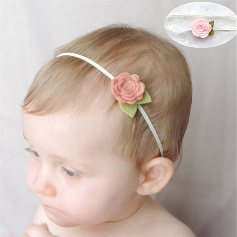Girl Headband Hairband BB Hair Accessories Felt Flower Leaf Bebe Head Band Cute Vintage Hair Accessories Hair Bow 1Pcs FK-281 bebe girls flower headband four felt rose flowers head band elastic hairbands rainbow headwear hair accessories
