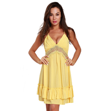 New cotton casual bar women yellow dress club style clothing summer lace backless girl clothes hot dresses