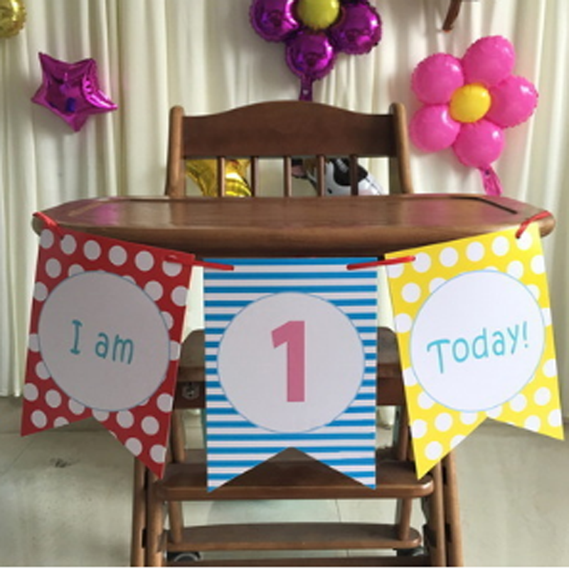 1 Set Cute Boy Girl First Birthday Cardboard blue pink High Chair Flag Banner Baby One Year Old Birthday Hanging Decoration