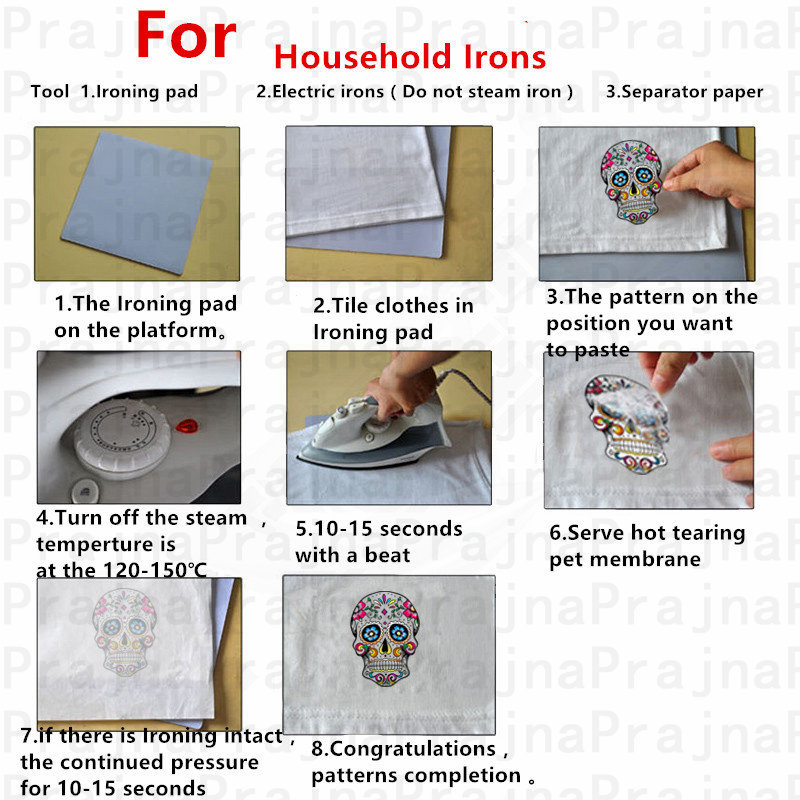Nicediy DIY Flower Skull Applique On Clothes Stickers Heat Transfer Vinyl Sticker Stripe Hippie Cool Patch Badge Decor Washable in Patches from Home Garden