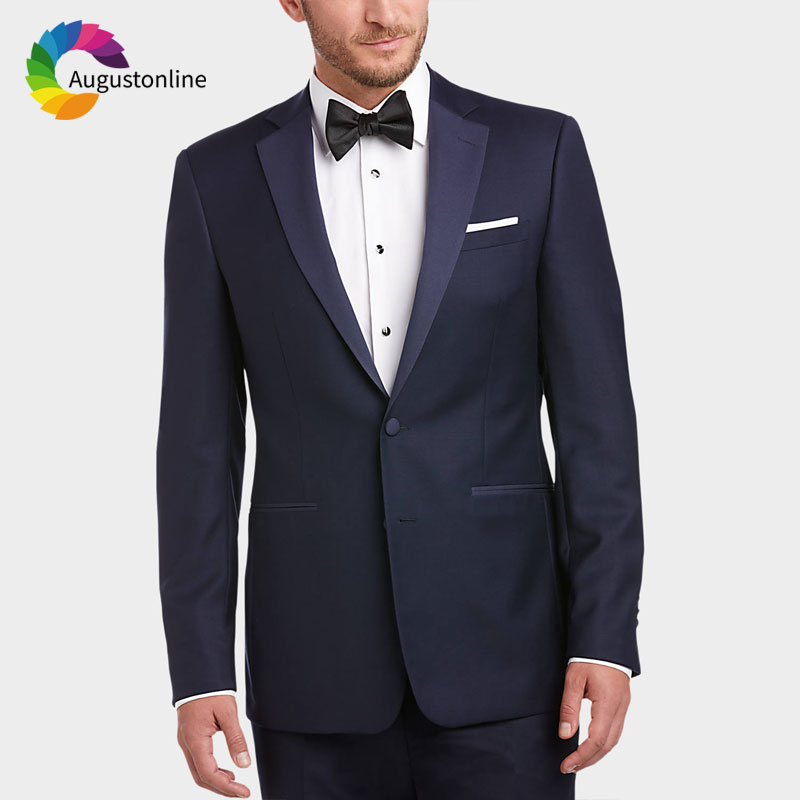 Navy Blue Men Suits Pants 2Pieces Custom Made Wedding Suits Formal Groom Tuxedos Slim Fit Prom Best Man Blazer Evening Party