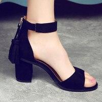D H Shoes Woman 2017 Leather Tassel Women Sandals Ankle Strap Summer Shoes Open Toe