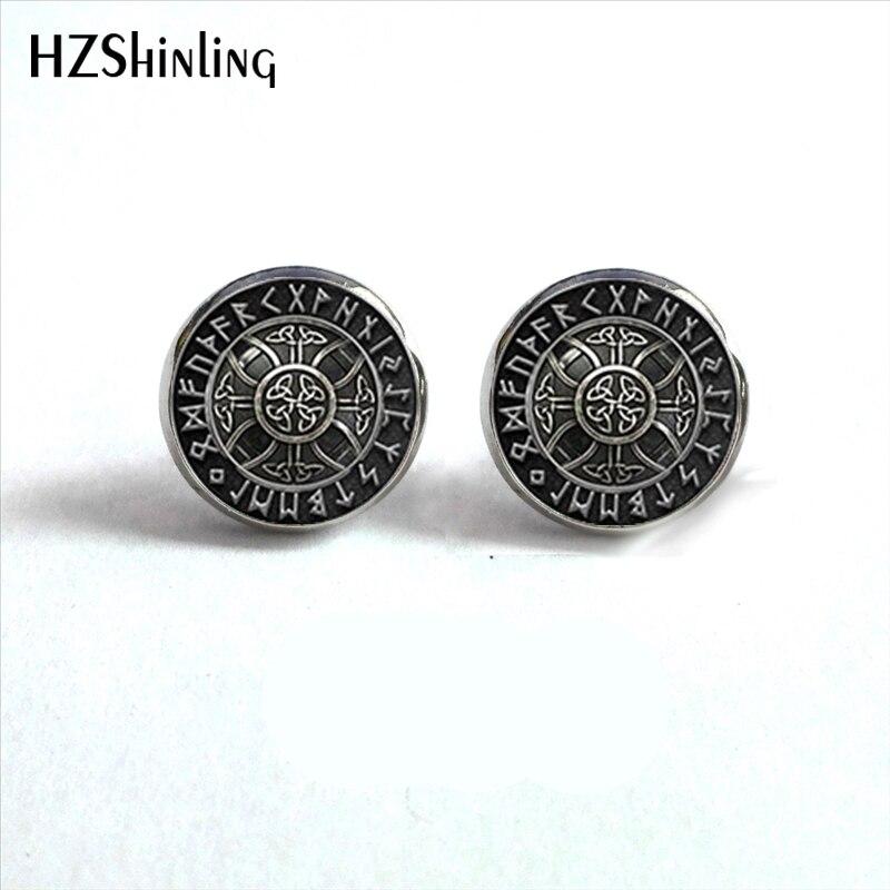 Серьги-гвоздики в рунный круг, серьги-гвоздики с компасом, ювелирное изделие из стекла, HZ4