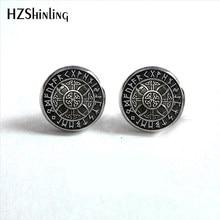 NES-004 nórdico viking orelha parafuso prisioneiro cruz em runa círculo brincos bússola studs brinco jóias cabochão de vidro pós hz4