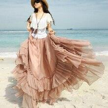 Летние женские пышные богемные юбки, шифоновые длинные сексуальные юбки с оборками размера плюс, юбки для вечеринок
