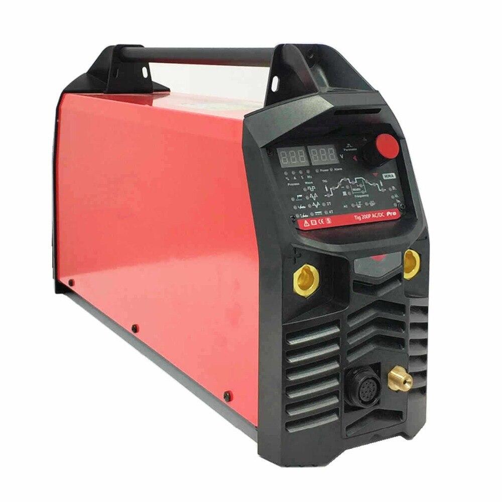Aluminium Schweißer AC DC 200A Welle AC Frequenz Balance Puls Pedal Control Heißer Starten Digitale Impuls ACDC TIG MMA Schweißen maschine