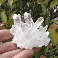 Hot!!! 120-130g natural white angel aura crystal cluster electroplating Titanium coating quartz cluster stone Healing