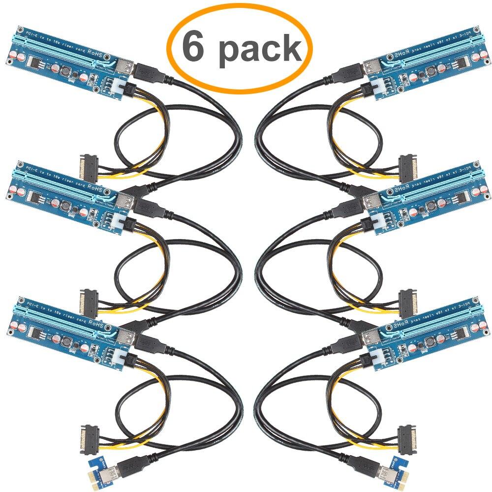 6 Pack 2017 Nouveau PCIe VER 006C PCI-E 1X à 16X Powered Riser adaptateur Carte w/60 cm USB 3.0 Extension Cable & 6 P Câble D'alimentation-GPU