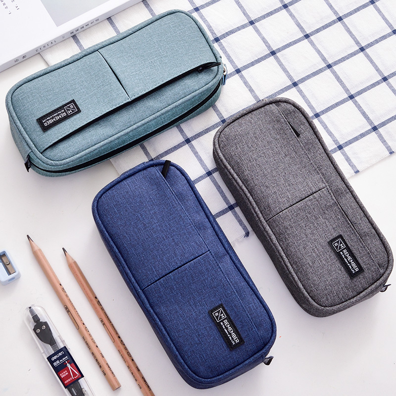 Large Capacity Canvas Pencil Bag with Zipper Dark Blue Dark Grey Green Stationery Pen Case for Student Gift School Supplies big capacity high quality canvas shark double layers pen pencil holder makeup case bag for school student with combination coded lock