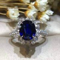Princesse Diana et Kate Style Saphir Diamant Anneau 2.042ct + 0.599ct 18 K Or Naturel Sapphire Femmes Anneau avec Diamant cadre