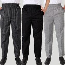 Roupas masculinas de alta qualidade chef calças do hotel roupas trabalho listrado calças restaurante xadrez calças casuais tamanho grande chef roupas t