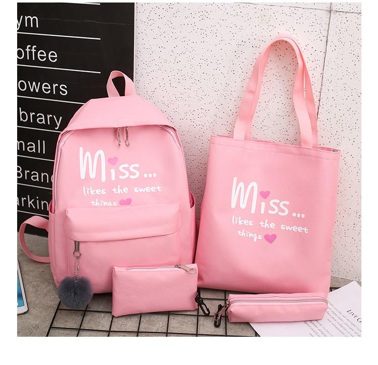 4Pcs/set Women School Backpacks Nylon Schoolbag For Teenagers Girls Student Book Bag Boys Satchel Bolsas Mochilas Sac A Dos