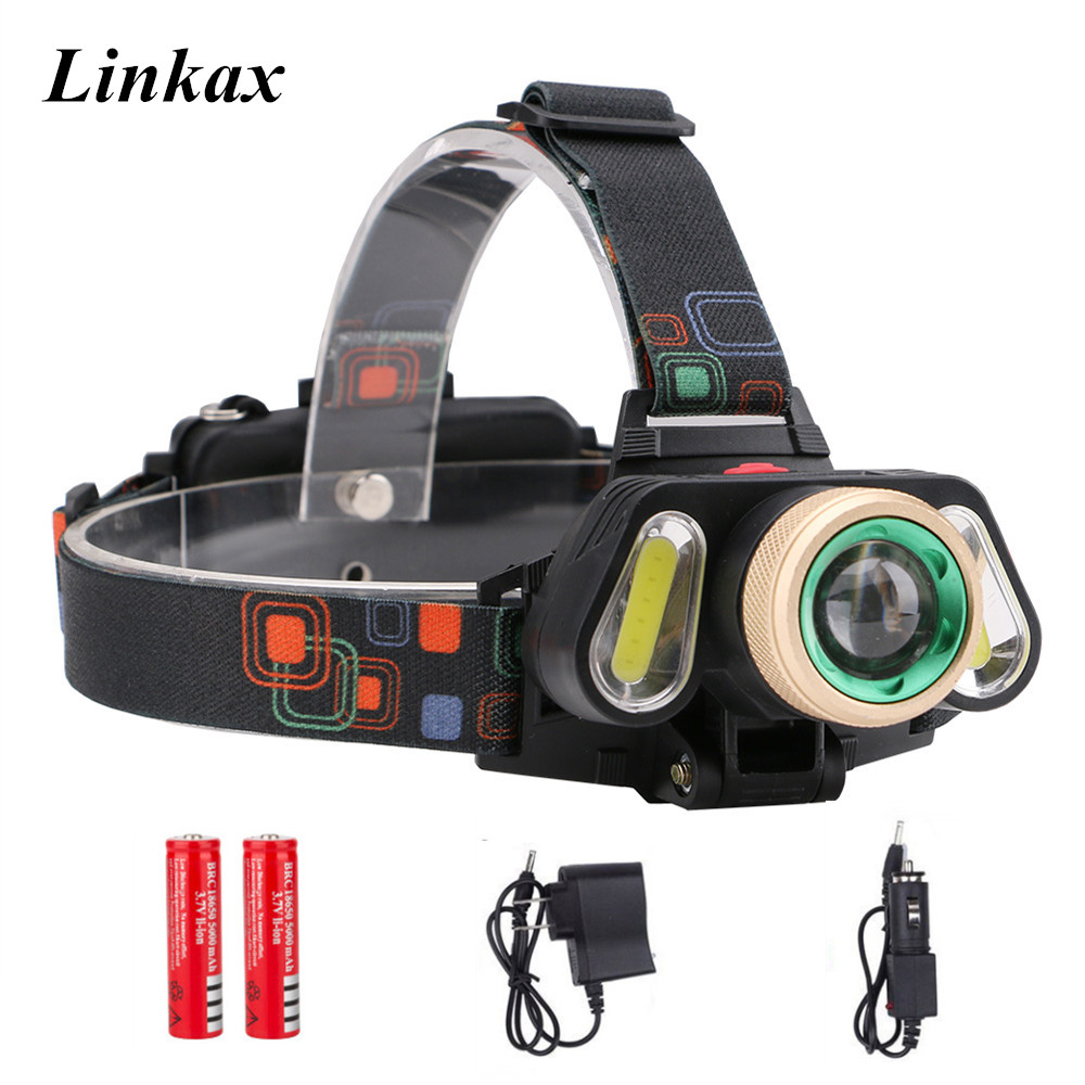 Rechargeable Cree XML T6 LED COB LED 10000lm Zoomable Headlamp Headlight Torch LED Flashlight+Charger+18650 Batteries налобный фонарь headlamps 2000 xml t6 cree 18650 led headlamp