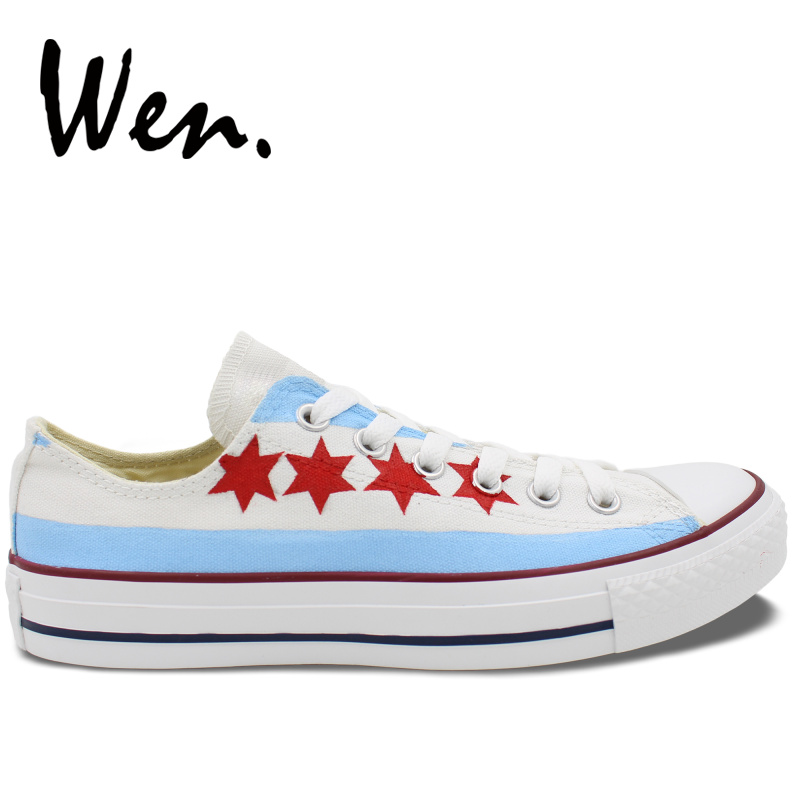 Wen Hand Painted Shoes Original Design Custom Chicago Flag Men Womens Low Top Canvas Sneakers For Boys Girls Birthday GiftsWen Hand Painted Shoes Original Design Custom Chicago Flag Men Womens Low Top Canvas Sneakers For Boys Girls Birthday Gifts