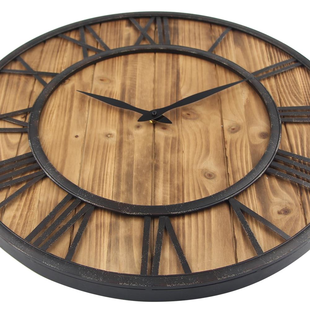60 Cm Große Wanduhr Vintage Design Uhr Schmiedeeisen Metall Holz  Industriellen Eisen Retro Uhr Saat Klassische Horloge Murale In 60 Cm Große  Wanduhr Vintage ...