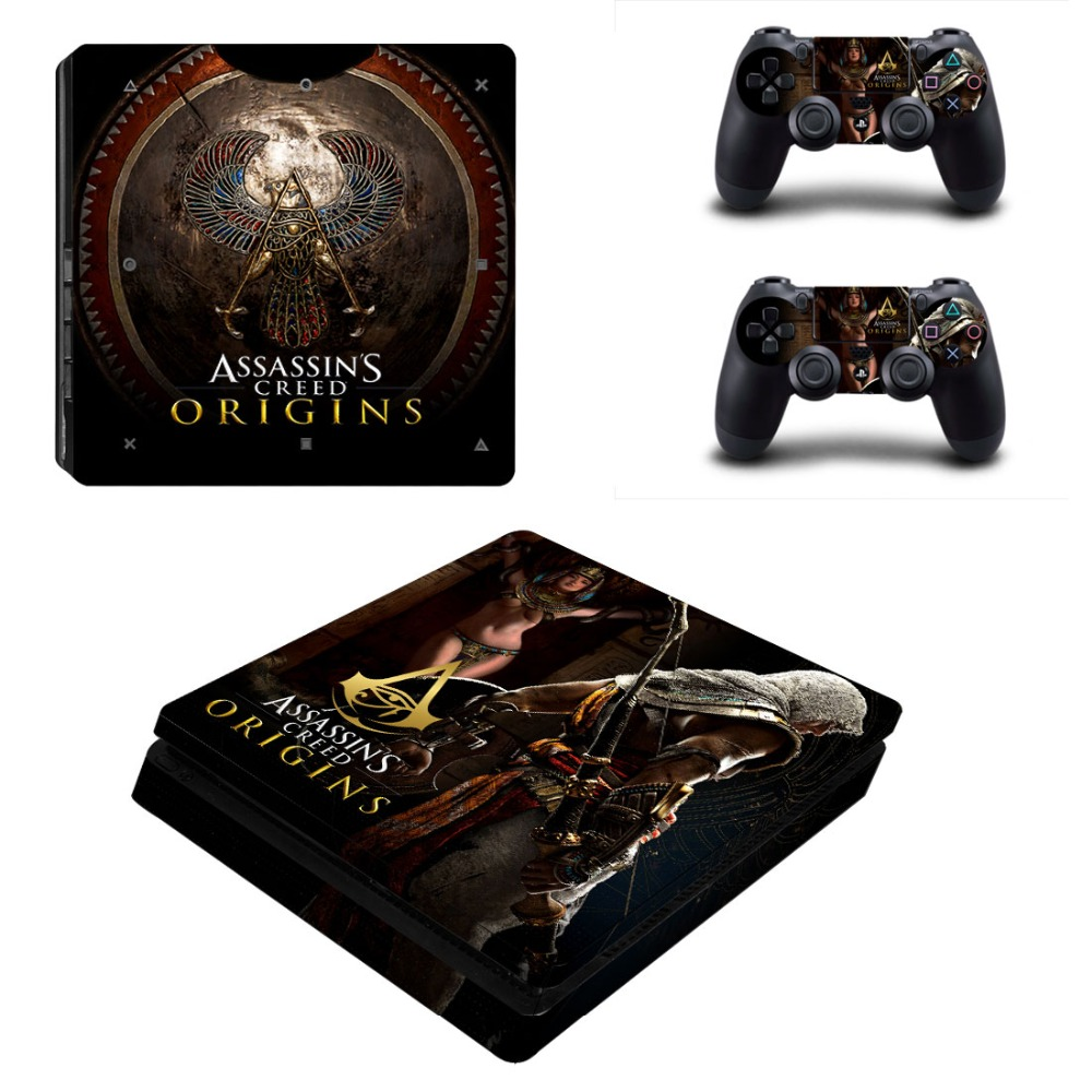 Assassins Creed Origins Vinyl Decal Skin PS4 Slim Sticker for Sony Playstation 4 Console System & Two Controller Skins Cover