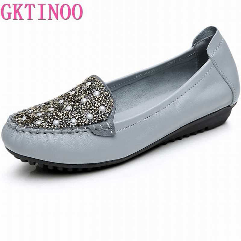 Women Shoes 2019 New Fashion Genuine Leather Flat Shoes Woman Loafers Crystal Soft Outsole Comfortable Casual