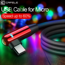 Cafele USB C Cable for Xiaomi 8 Type LED Lighting Nylon Weave Type-C USB-C Mobile Charger