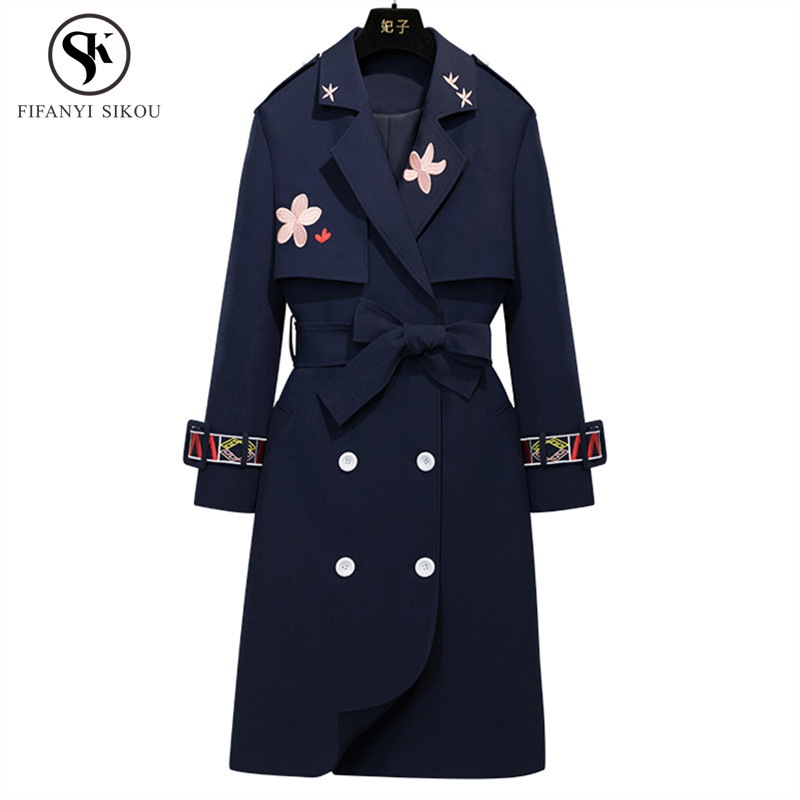 2018 Autumn New High End Long Trench Coat Women Double Breasted Embroidery Slim Outerwear Female Design Brand Coats LGP781