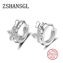 Luxury 925 Sterling Silver Crystal CZ Double Butterfly Stud Earrings Earring For Women Girl Fashion