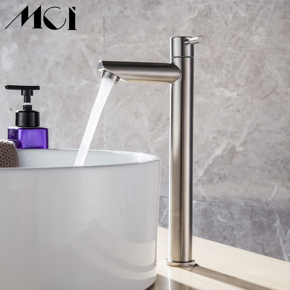 Image 5 - 304 Stainless Steel Deck Mounted Sink Basin faucet Rust And Corrosion Resistance Bathroom Kitchen Single Cold Water Faucet Mci-in Basin Faucets from Home Improvement