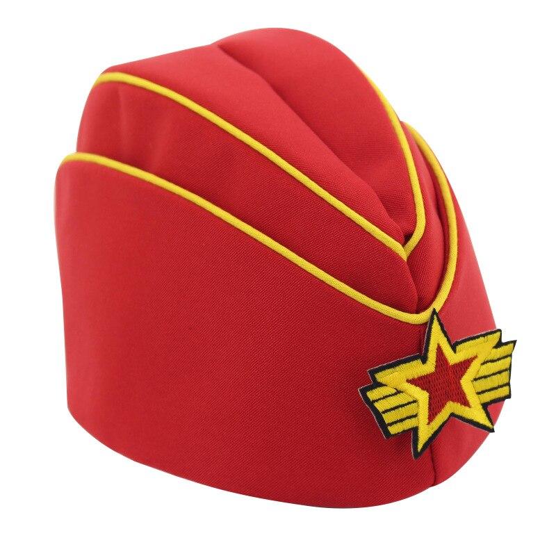 2018 nouveau chapeau de danse marin hôtesses de l'air jouent le rôle des fans militaires performance bateau chapeau militaire vert boulette chapeau cinq-poi