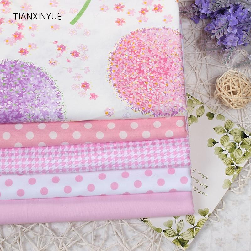 5 Pcs Rose Et Violet Pissenlit Tissu Tissu Pour Coudre Patchwork